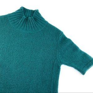 Marni Mohair Teal Green Sweater Dress Mock Neck